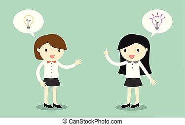 differente, circa, due, ideas., parlare, donne affari