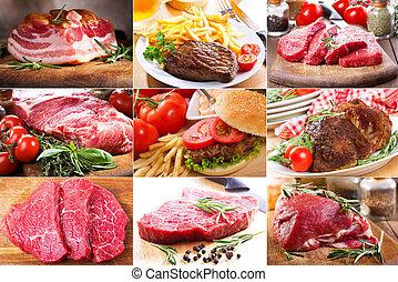 differente, collage, carne