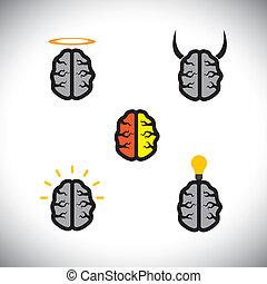 differente, come, icone, cervelli, genio, creativo, vettore, tipi