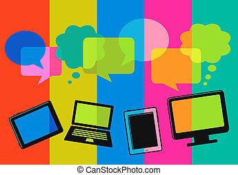 differente, computer, discorso, bolle, icone