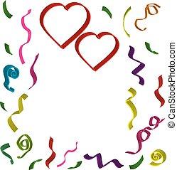 differente, d, 3, due, colori, fondo, coriandoli, cuori, bianco, nastri, rosso