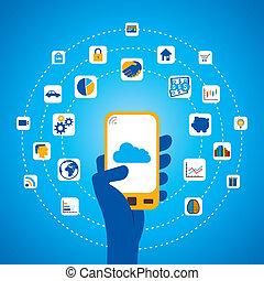 differente, domanda, mobile