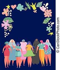 differente, donne, fiori, tuo, set, circondato, cornice, posto, text.