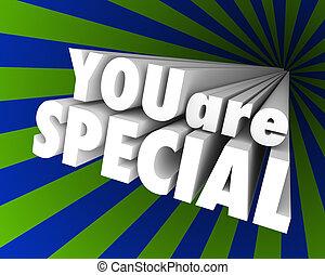 differente, eccezionale, parole, lei, unico, speciale, 3d