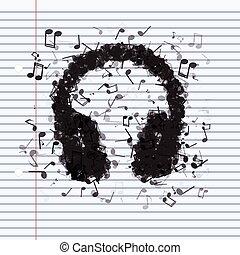 differente, fatto, note musica, cuffie