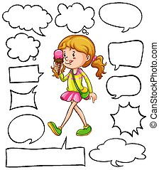 differente, felice, mangiare, forme, icecream, ragazza, discorso, bolle