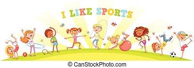 differente, generi, natura, occupato, sport, fondo, bambini