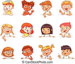 differente, gesti, vario, asse, presa a terra, nazionalità, bianco, bambini, vuoto