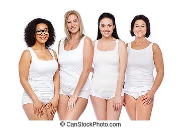 differente, gruppo, biancheria intima, bianco, donne felici