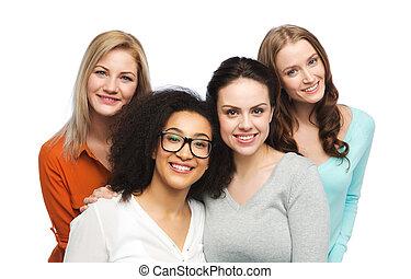 differente, gruppo, vestiti, felice, casuale, donne