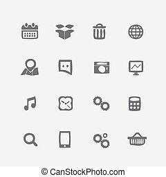 differente, icone, set., stile, domanda, spiegazzato