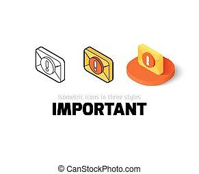 differente, importante, stile, icona