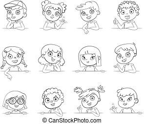 differente, logotype, gesti, vario, presa a terra, nazionalità, board., bianco, bambini, vuoto
