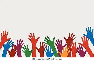differente, mani, colori, su
