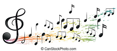 differente, note, g-clef, musicale