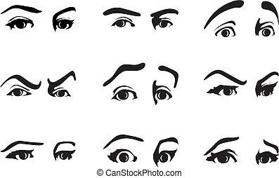 differente, occhio, illustrazione, vettore, emotions., esprimere, espressione