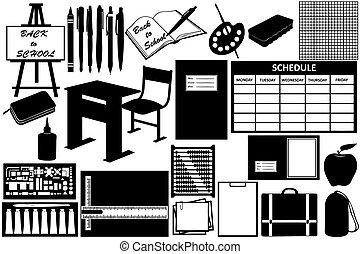 differente, oggetti, scuola