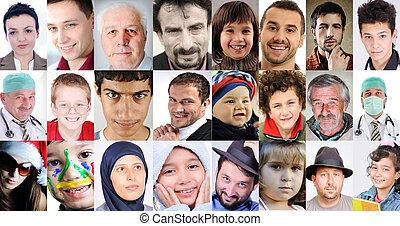 differente, persone, collage, età, comune, culture, espressioni, lotti