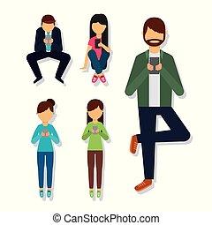 differente, persone, telefono mobile, usando, pose