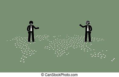 differente, pollice, paesi, dare, cima, map., due, uomo affari, su, altro, ciascuno, mondo