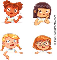 differente, ragazze, asse, presa a terra, nazionalità, bianco, vuoto