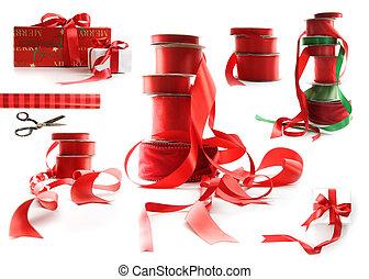 differente, regalo, formati, scatole, involvere, bianco, nastri, rosso