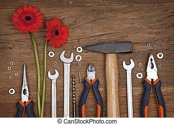differente, set, attrezzi, fiori
