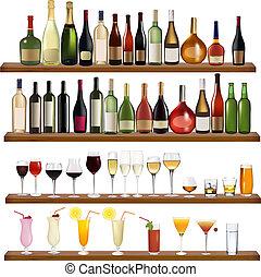 differente, set, beve bottiglie