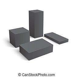 differente, set, boxes., vuoto