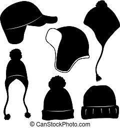 differente, set, cappelli inverno