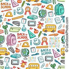 differente, set, colorare, cose, scuola, seamless, modello