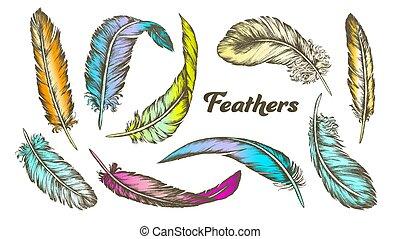 differente, set, colorare, penne, vettore, inchiostro