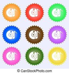 differente, set, colorato, dvd, segno., labels., cd, vettore, nove, o, icona