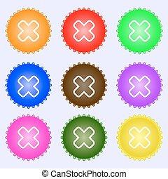 differente, set, colorato, segno., labels., vettore, nove, annullare, icona