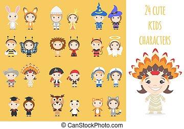differente, set, colorito, costumes., bambini, caratteri, cartone animato