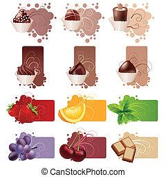 differente, set, colorito, dolci, frutte, cornici