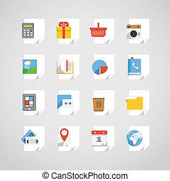 differente, set, icone, domanda, carta, fogli