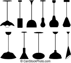 differente, set, lampade, pendente