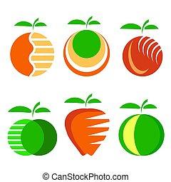 differente, set, mela, icone, isolato, frutta