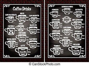differente, set, menu ristorante, tazze caffè, bibite