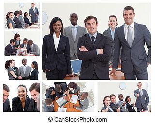 differente, situazioni, businesspeople, proposta, collage