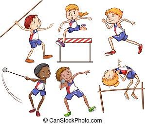 differente, sport, esterno, attraente, bambini
