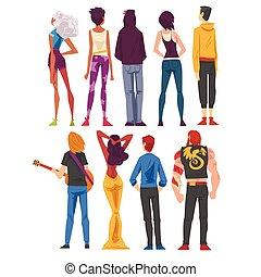 differente, stile, cartone animato, qualcosa, dietro, osservato, persone, il portare, casuale, ragazze, dall'aspetto, tipi, vestiti, vista, vettore, indietro, illustrazione, set