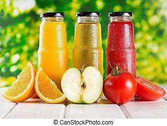 differente, succo, frutte, bottiglie