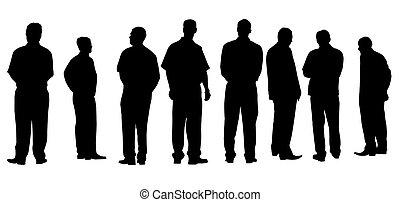 differente, uomini affari, isolato