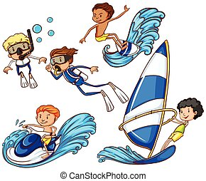 differente, watersports, bambini, godere