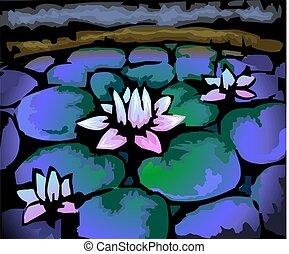 digitale, colore, pittura, fondo., loto