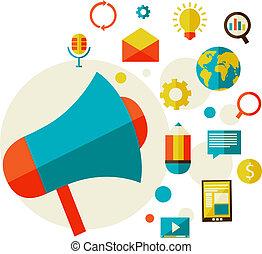 digitale, concetto, marketing