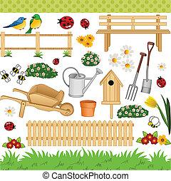 digitale, giardino, collage