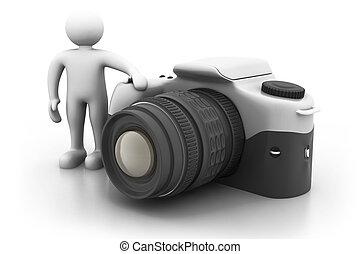 digitale, macchina fotografica., condizione uomo, grande, prossimo, 3d